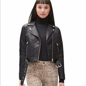 Topshop Faux Leather Cropped Jacket